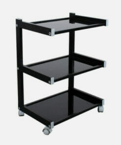 Black Three Tier Glass Shelved Trolley