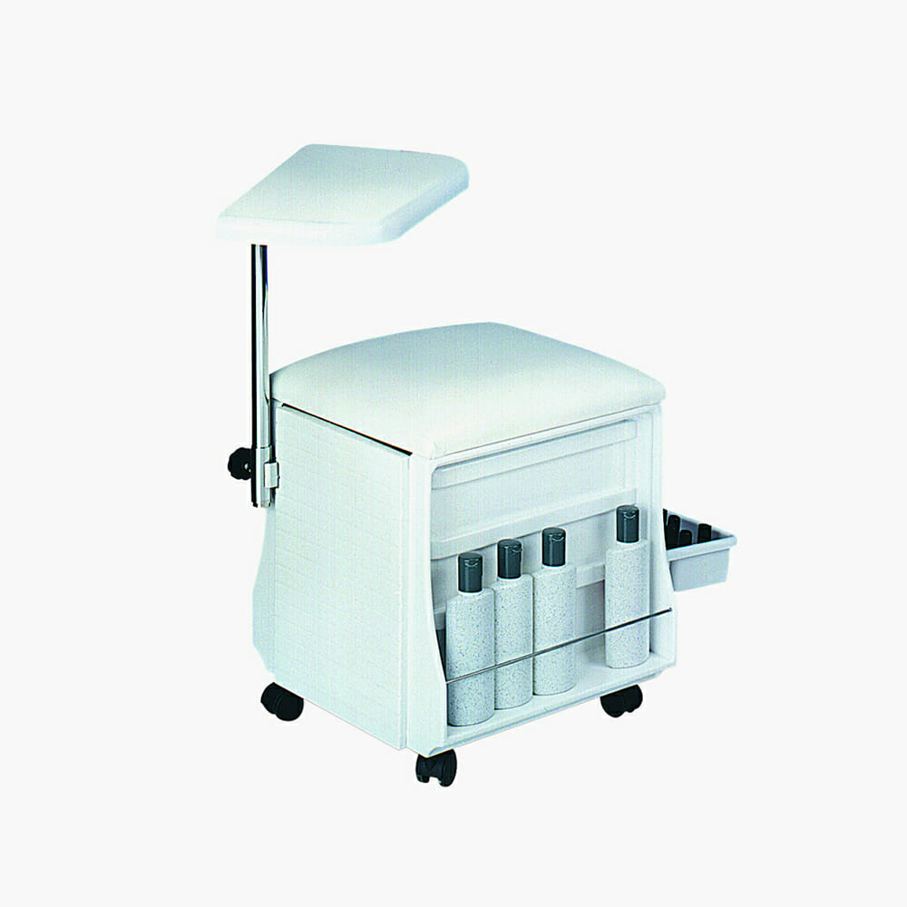 Manicure table seat in white direct salon furniture for Beauty salon manicure tables