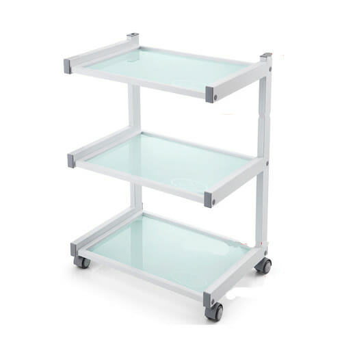 White Three Tier Glass Shelved Trolley