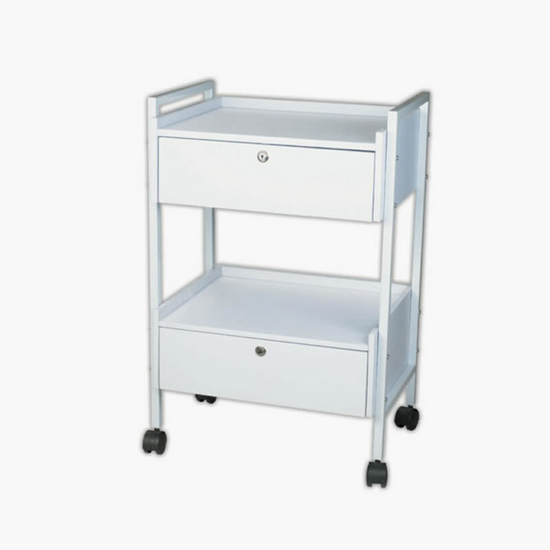 Two Tier White Wooden Trolley