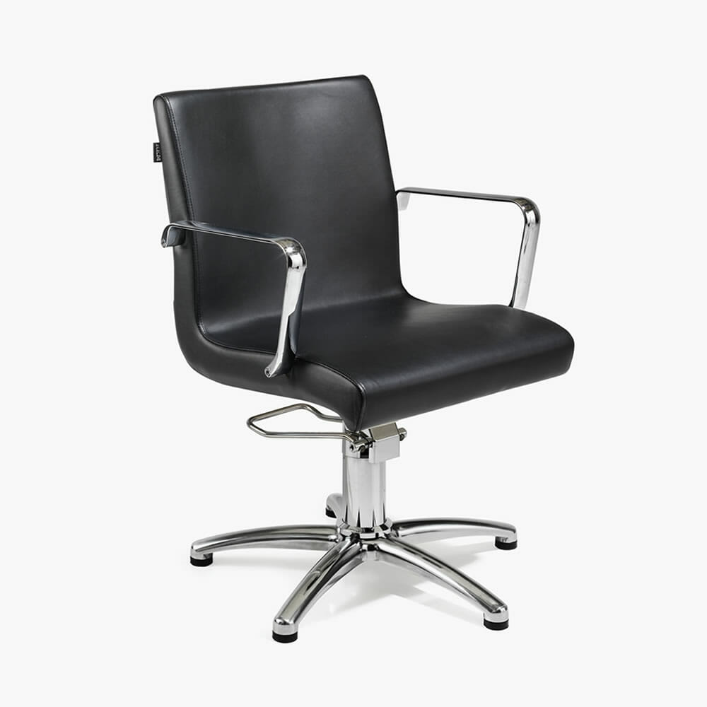 Rem ariel hydraulic styling chair in black direct salon for Salon furniture