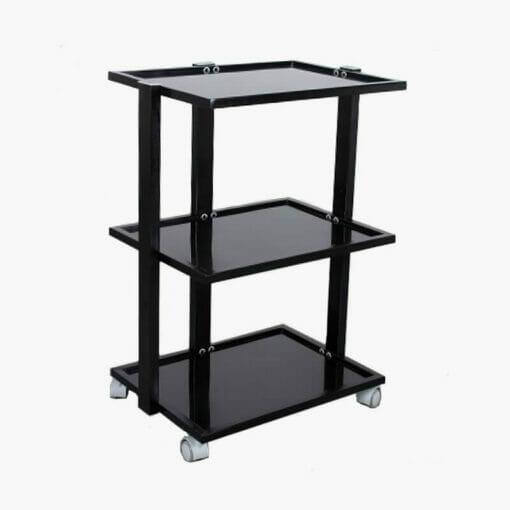 Black 3 Tier Glass Shelved Beauty Trolley