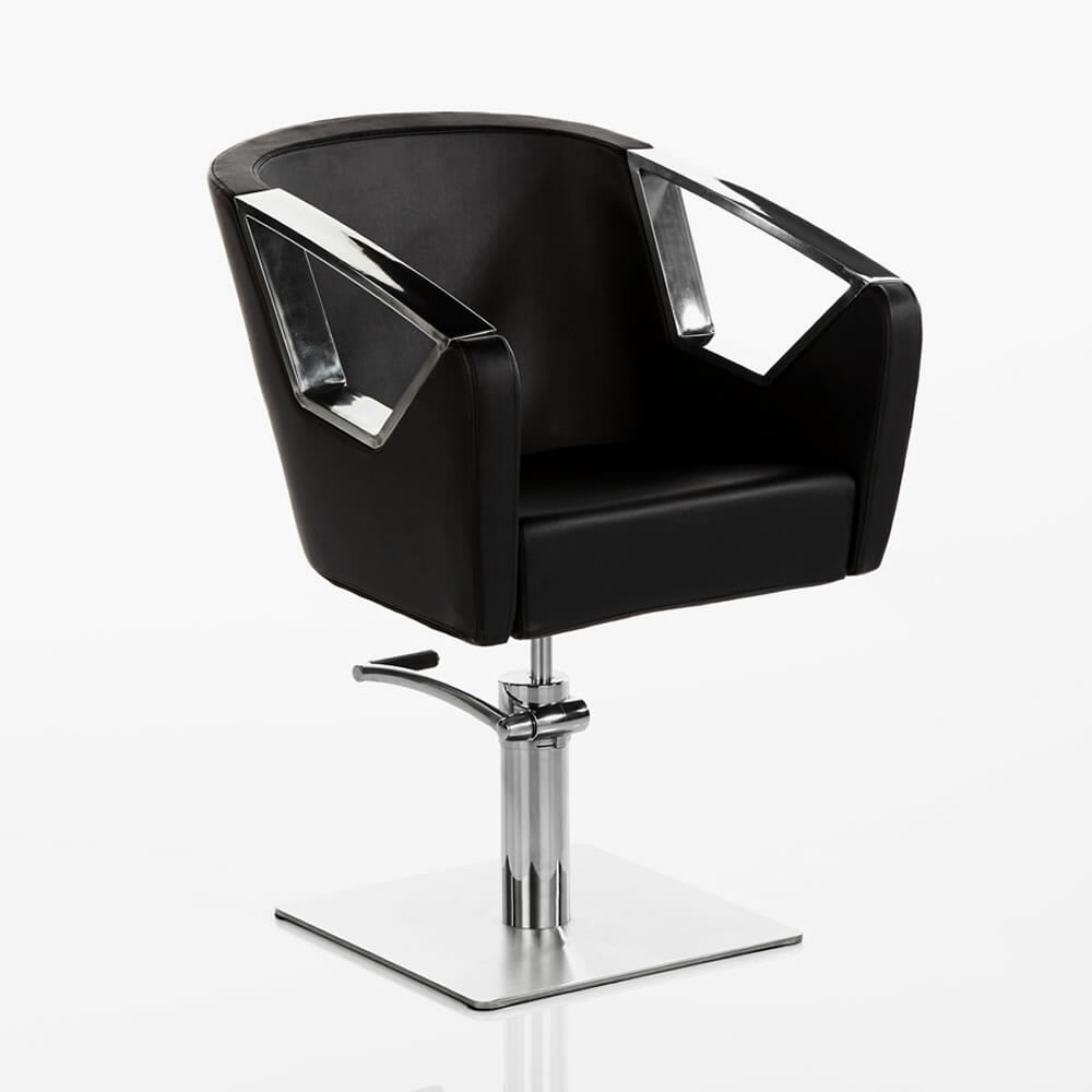 Crystal hydraulic styling chair in black direct salon for Salon styling chairs wholesale