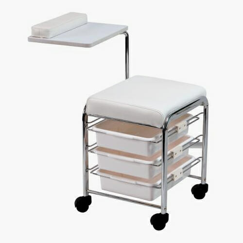 Mobile Nail Stool In White Direct Salon Furniture