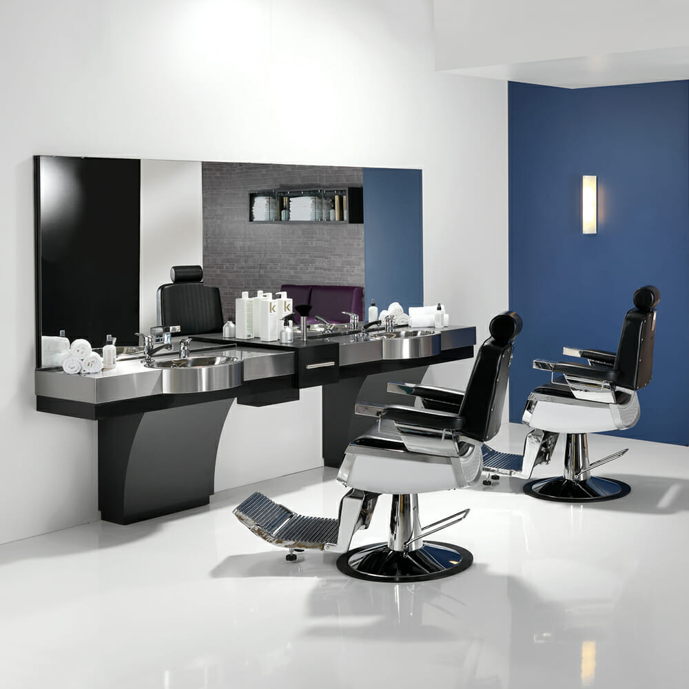 Takara belmont spitfire barbers furniture package direct for Modern salon furniture packages