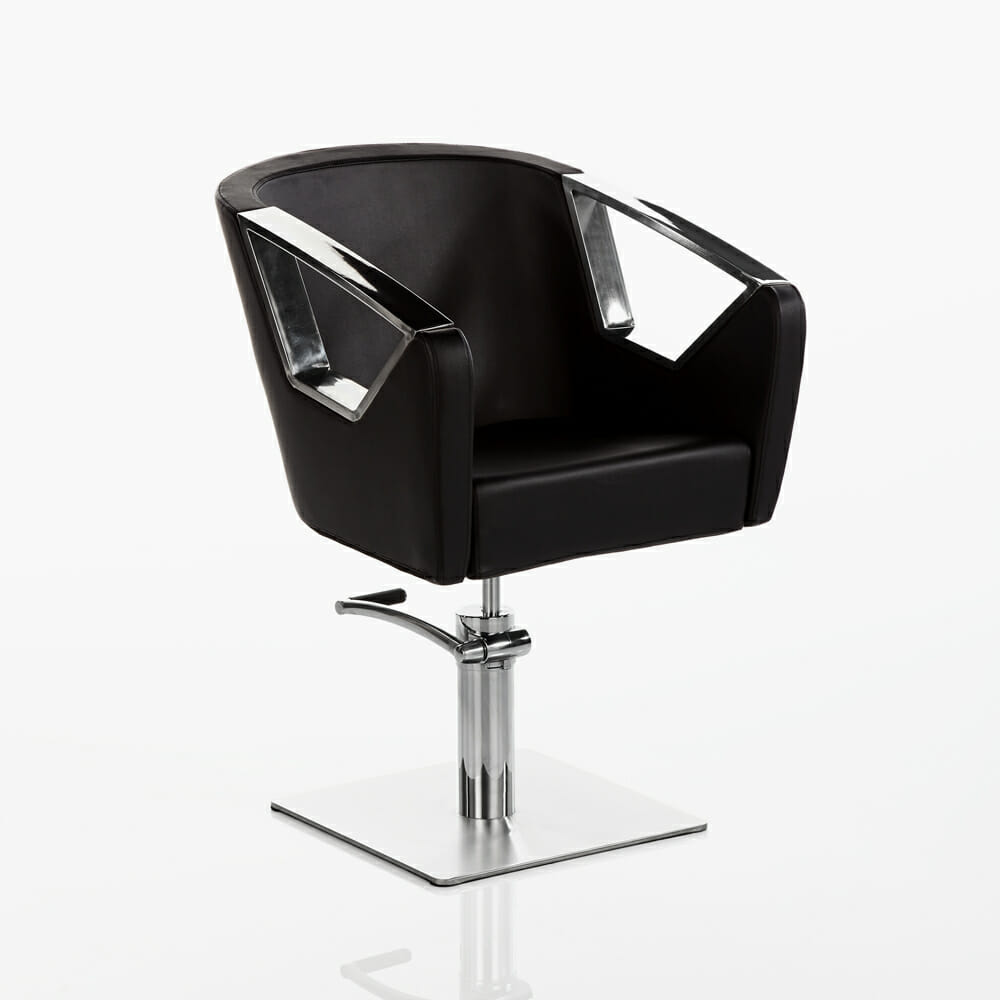 Crystal hydraulic styling chair in black direct salon for Hydraulic chairs beauty salon